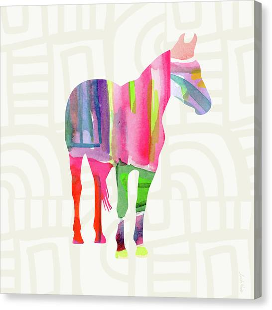 Equine Canvas Print - Colorful Horse 2- Art By Linda Woods by Linda Woods