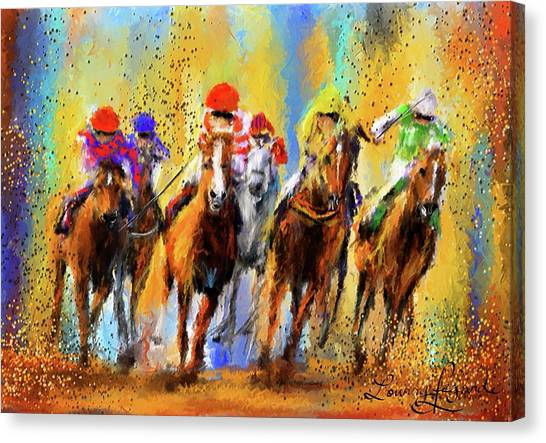 Horseracing Canvas Print - Colorful Horse Racing Impressionist Paintings by Lourry Legarde