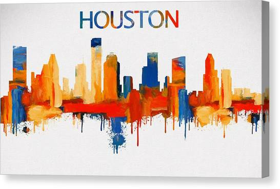 University Of Houston Canvas Print - Colorful Houston Skyline Silhouette by Dan Sproul