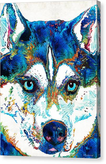 Pac 12 Canvas Print - Colorful Husky Dog Art By Sharon Cummings by Sharon Cummings