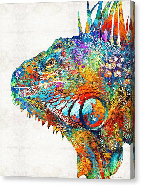 Iguanas Canvas Print - Colorful Iguana Art - One Cool Dude - Sharon Cummings by Sharon Cummings