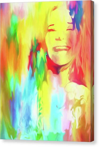 Janis Joplin Canvas Print - Colorful Janis by Dan Sproul