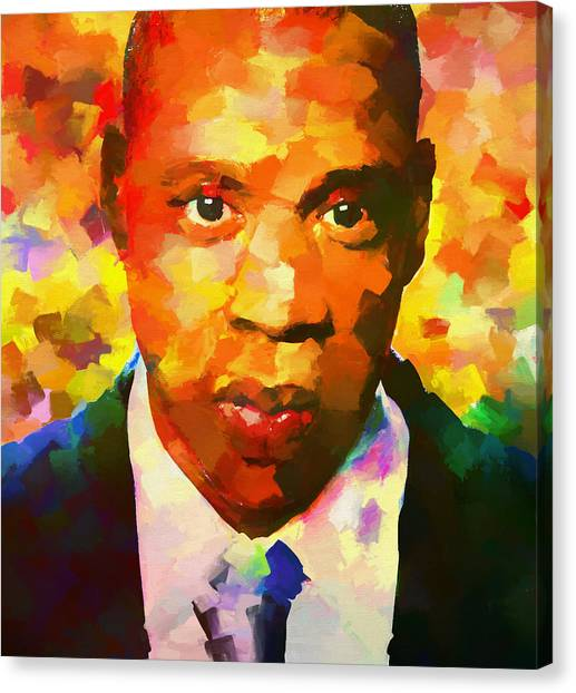 Jay Z Canvas Print - Colorful Jay Z Palette Knife by Dan Sproul