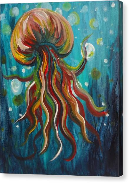 Colorful Jellyfish Canvas Print