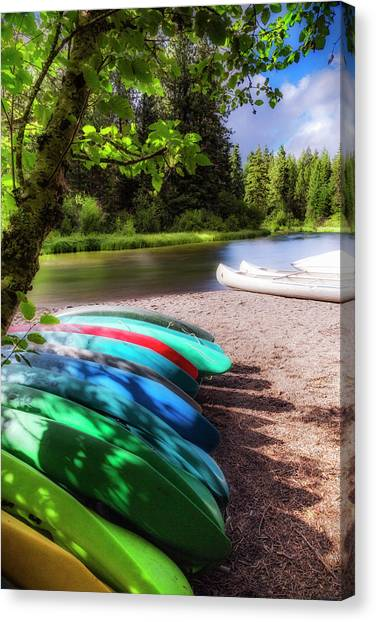 Canoe Canvas Print - Colorful Kayaks by Cat Connor
