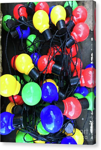 Decorative Glass Canvas Print   Colorful Light Bulbs By Tom Gowanlock