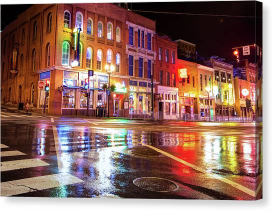 Canvas Print featuring the photograph Colorful Lights Of The Music City - Nashville Tennessee  by Gregory Ballos