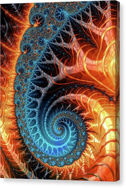Colorful Luxe Fractal Spiral Turquoise Brown Orange Canvas Print