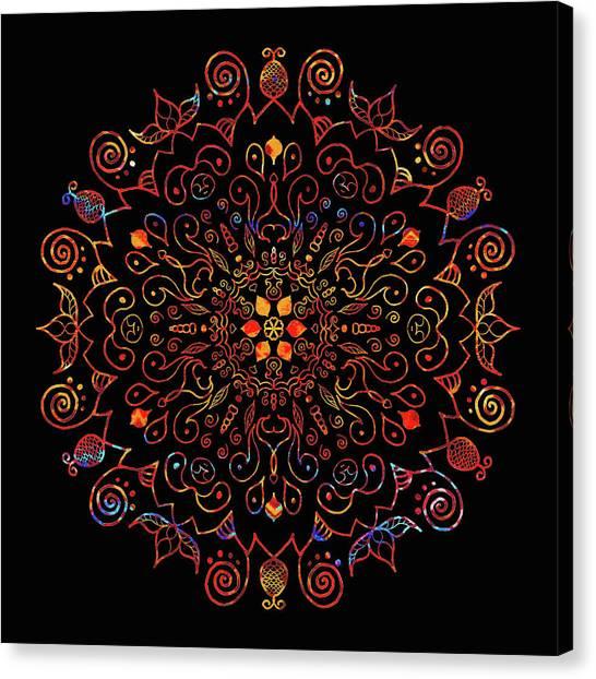 Colorful Mandala With Black Canvas Print