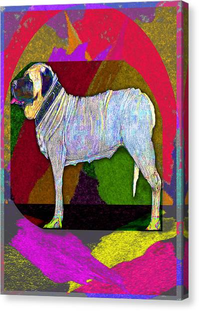 Canvas Print featuring the drawing Colorful Mastiff by Michelle Audas