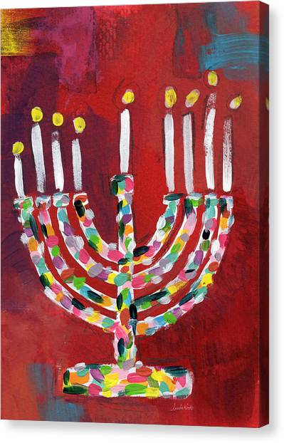 Celebration Canvas Print - Colorful Menorah- Art By Linda Woods by Linda Woods