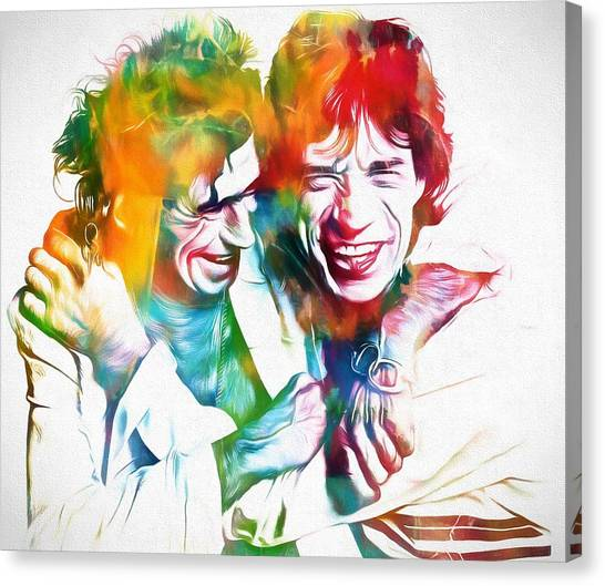 Mick Jagger And Keith Richards Canvas Print - Colorful Mick And Keith by Dan Sproul