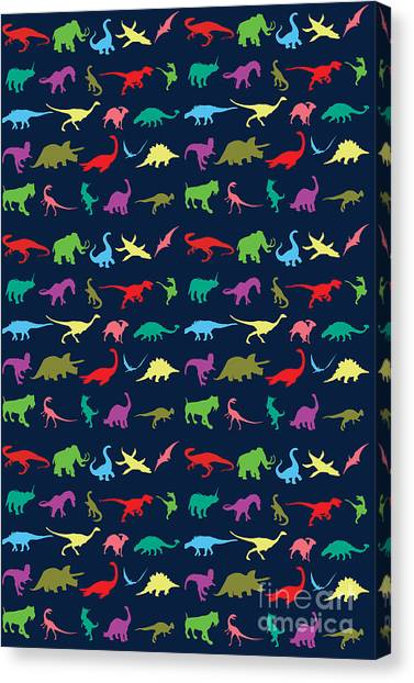 Dinosaurs Canvas Print - Colorful Mini Dinosaur by Naviblue
