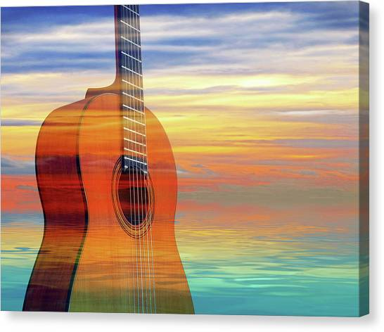 Classical Guitars Canvas Print - Colorful Mood Guitar by Gill Billington