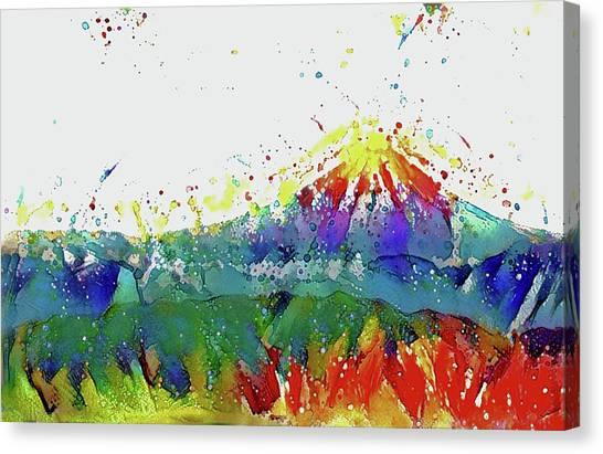 Mount Fuji Canvas Print - Colorful Mt. Fuji by ArtMarketJapan