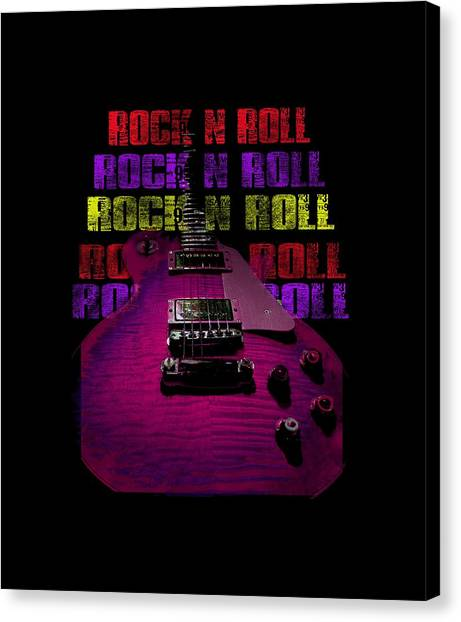 Canvas Print featuring the photograph Colorful Music Rock N Roll Guitar Retro Distressed T-shirt by Guitar Wacky