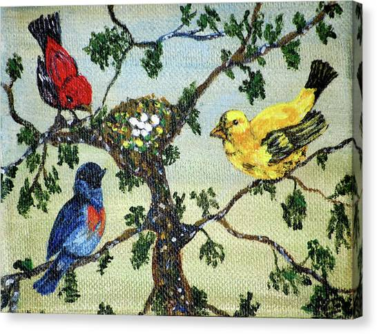 Colorful Nesting Birds Canvas Print by Ann Ingham