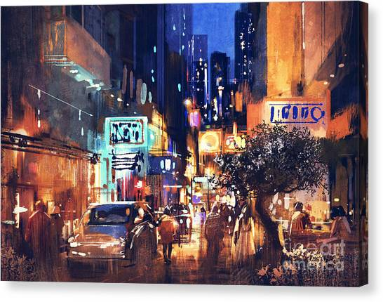 Canvas Print featuring the painting Colorful Night Street by Tithi Luadthong