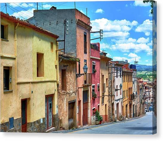 Colorful Old Houses In Tarragona Canvas Print