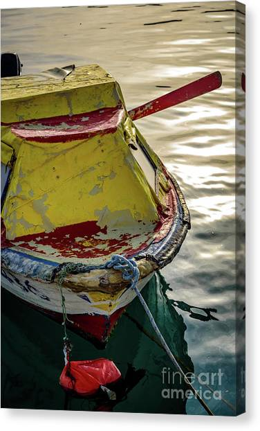 Colorful Old Red And Yellow Boat During Golden Hour In Croatia Canvas Print