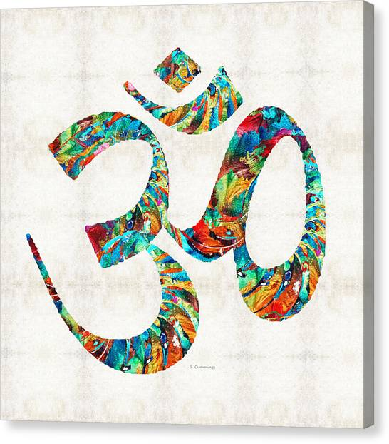 Om Canvas Print - Colorful Om Symbol - Sharon Cummings by Sharon Cummings