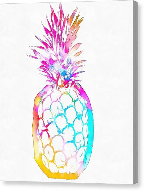Pineapples Canvas Print - Colorful Pineapple by Dan Sproul