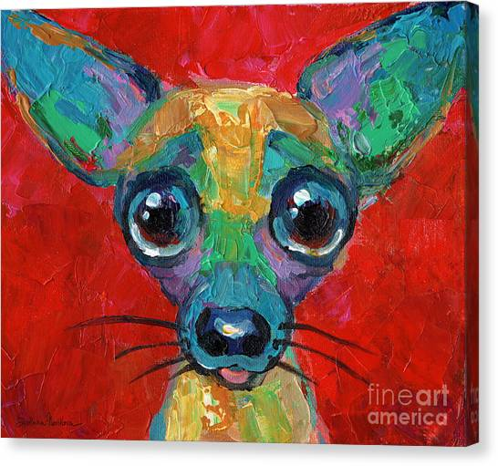 Chihuahuas Canvas Print - Colorful Pop Art Chihuahua Painting by Svetlana Novikova