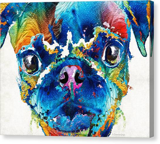 Pugs Canvas Print - Colorful Pug Art - Smug Pug - By Sharon Cummings by Sharon Cummings