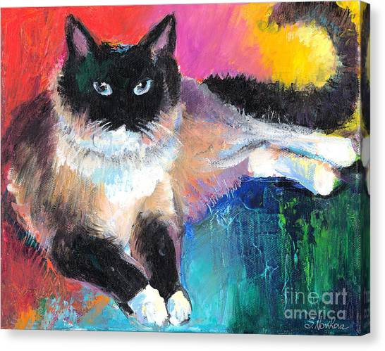 Colorful Ragdoll Cat Painting Canvas Print