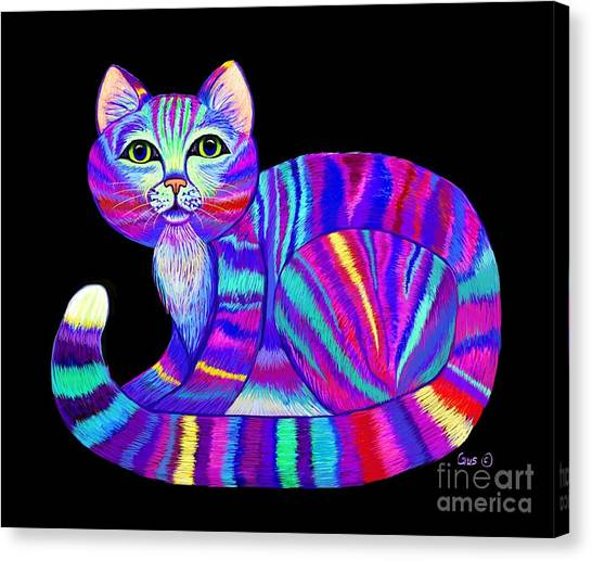Canvas Print - Colorful Rainbow Kitty by Nick Gustafson