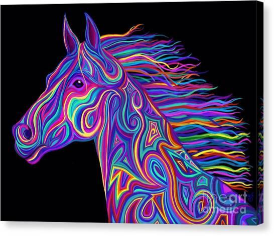 Canvas Print - Colorful Rainbow Stallion  by Nick Gustafson