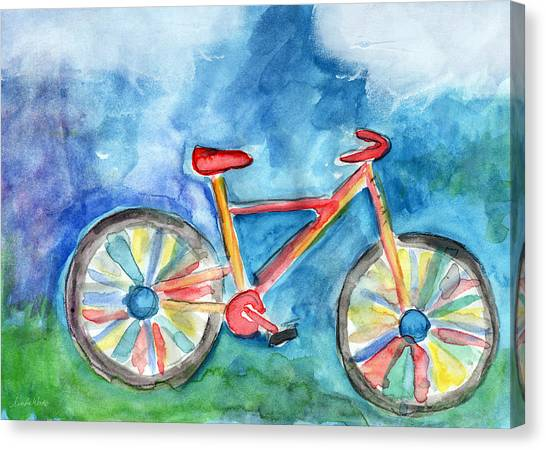 Cyclist Canvas Print - Colorful Ride- Bike Art By Linda Woods by Linda Woods