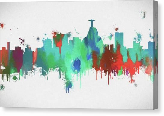 Rio De Janeiro Skyline Canvas Print - Colorful Rio De Janeiro Skyline by Dan Sproul