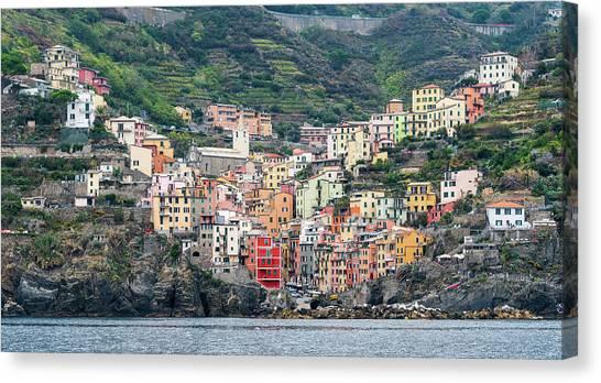 Colorful Riomaggiore Village At Cinque Terre, Italy Canvas Print