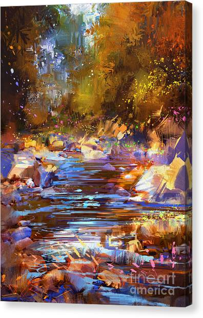 Canvas Print featuring the painting Colorful River by Tithi Luadthong