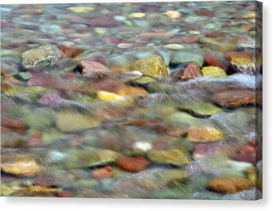 Colorful Rocks In Two Medicine River In Glacier National Park Canvas Print