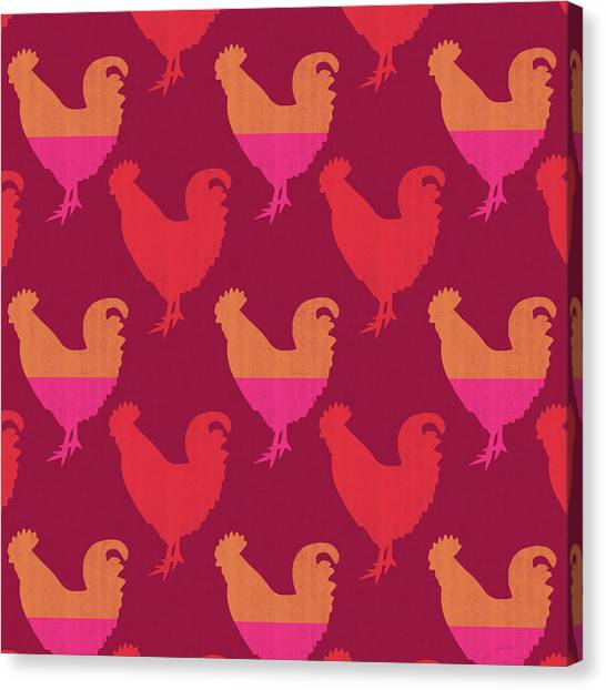 Roosters Canvas Print - Colorful Roosters- Art By Linda Woods by Linda Woods