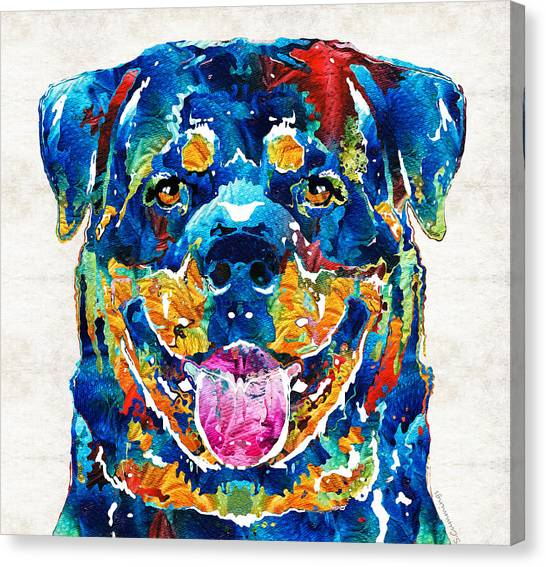 Rottweilers Canvas Print - Colorful Rottie Art - Rottweiler By Sharon Cummings by Sharon Cummings