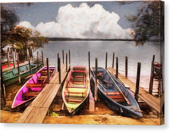 Canvas Print - Colorful Rowboats At The Lake Pastels Oil Painting  by Debra and Dave Vanderlaan