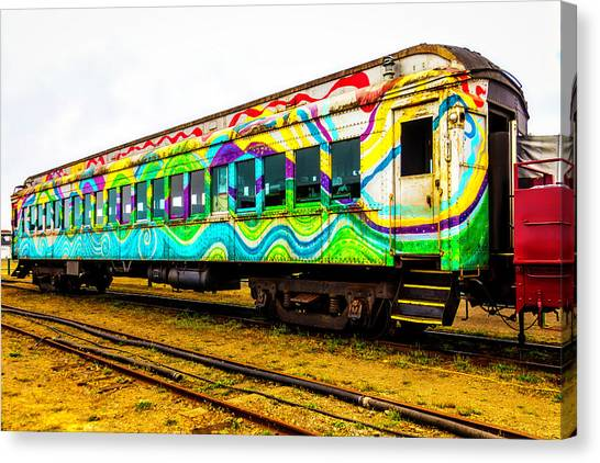 Stock Cars Canvas Print - Colorful Rusting Passenger Car by Garry Gay