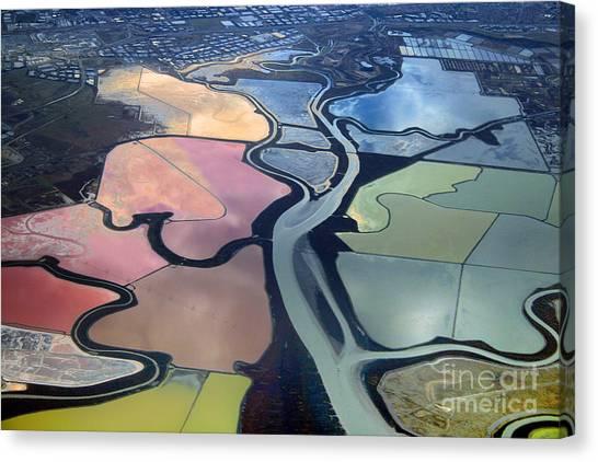Colorful Salt Evaporation Ponds In San Franccisco Bay Area Canvas Print