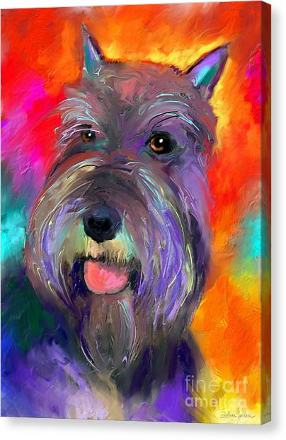 Schnauzers Canvas Print - Colorful Schnauzer Dog Portrait Print by Svetlana Novikova