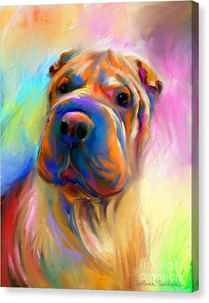 Colorful On Canvas Print - Colorful Shar Pei Dog Portrait Painting  by Svetlana Novikova