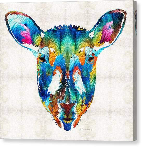 Sheep Canvas Print - Colorful Sheep Art - Shear Color - By Sharon Cummings by Sharon Cummings