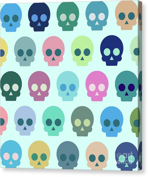 Skulls Canvas Print - Colorful Skull Cute Pattern by Amir Faysal