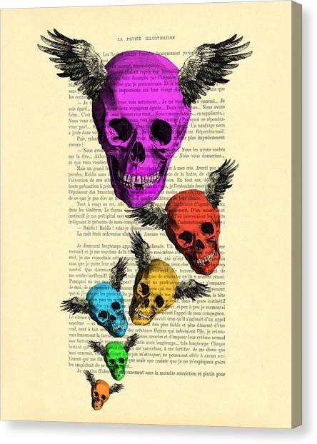 Winged Canvas Print - Colorful Rainbow Skull With Wings Illustration On Book Page by Madame Memento