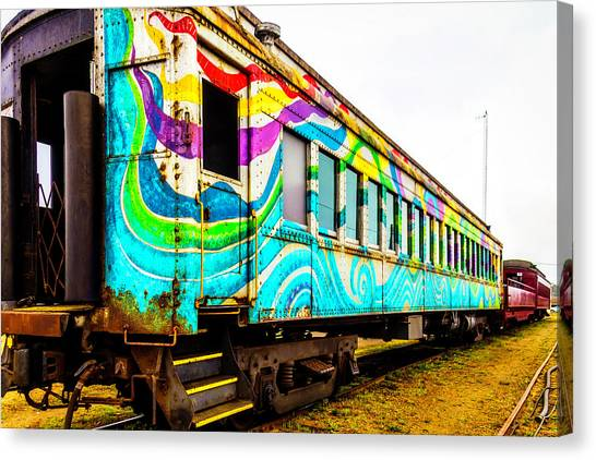 Stock Cars Canvas Print - Colorful Skunk Train Passenger Car by Garry Gay