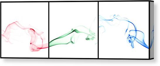 Fluids Canvas Print - Colorful Smoke II - Rgb Triptych by Scott Norris