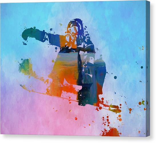 Freeriding Canvas Print - Colorful Snowboarder Paint Splatter by Dan Sproul