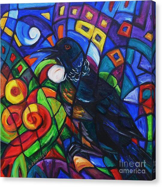 Colorful Song Of Tui Canvas Print